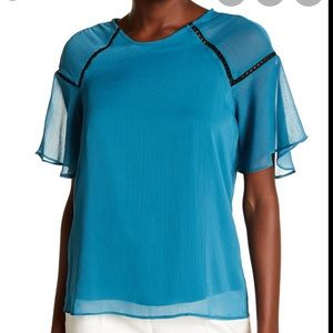 Nanette Lepore frill sleeve top size xl EUC
